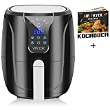 Vpcok Heißluftfritteuse Fritteuse, LCD Touch Display, ohne Öl, mit 6...