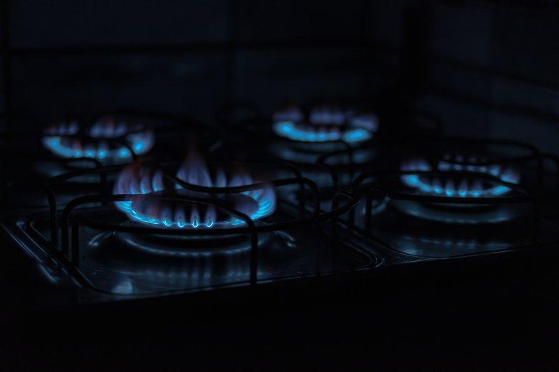 Brennende Gaskochplatten
