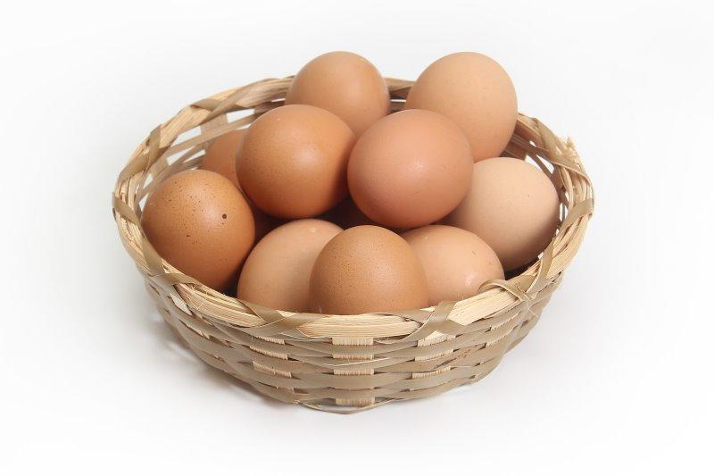 Eierkorb gefüllt mit gekochten Eiern