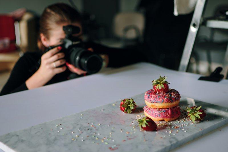 Fotoshooting von Donuts